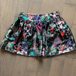 Candie's Satin Floral Flared Mini Skirt US 0